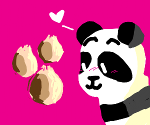 Local Panda loves dumplings.