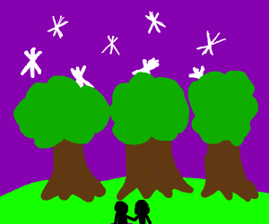 row of trees with violet starry sky in back