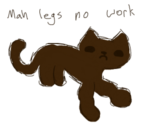 Cat with long, boneless front legs