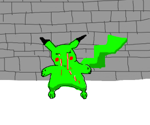 green pikachu crying blood