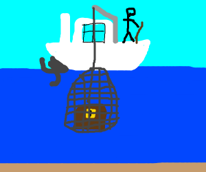 man(on boat) fishing buried chest