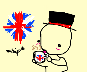 Sips tea in british