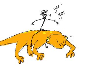 cowboy riding a newt
