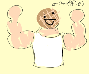 Extremely buff man with waffle head