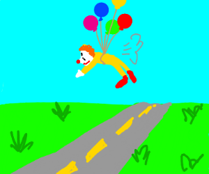Clown flying over the road