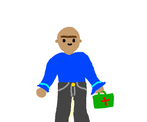 man with unibrow holds health and safety kit