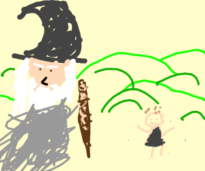 Gandalf meets a Hobbit in a hilly field