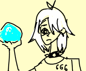White hair emo prophet with a glass orb