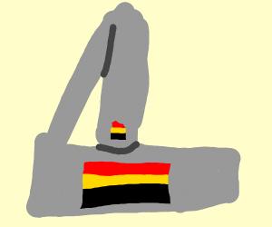 German flag in a microscope