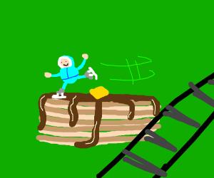 skating on pancake next to train tracks