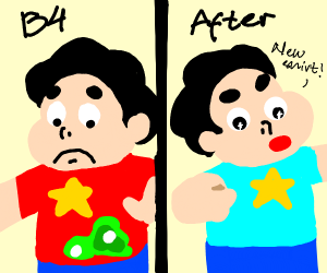 Steven Universe before and after shower