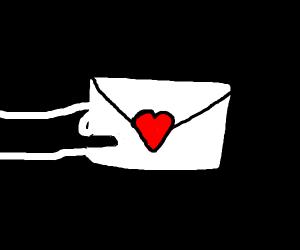 Girl sending love letter