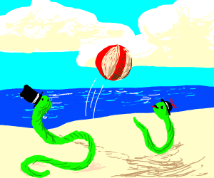 cute snek in tophat has beach day with son