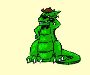 Cool dragon wears bow tie, sunglasses + hat