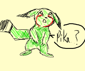 Green Pikachu with bleeding eyes