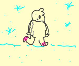 Yeti walking outside during winter