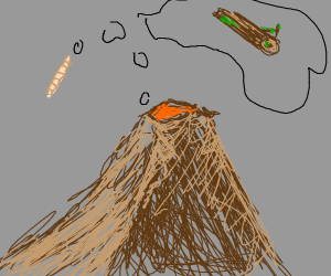 A volcano and a worm dreaming about a log