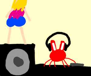 Woman twerking on stereo, DJ is a crab