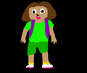 Dora the explorer wearing green in thedark