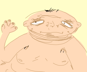 Ugly fat man looking at own hand