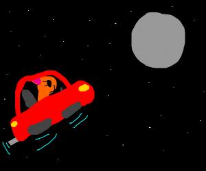 Car driving towards the moon