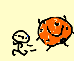 man running from murderous cookie