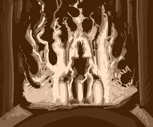 Grayscale of man sitting on a burning throne