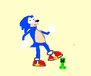 sonic the hedgehog stepping on a creeper