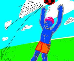 Red football flys over blue guys head