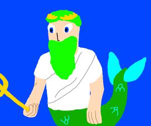 green haired Neptune/Poseidon