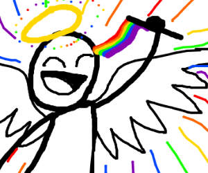 angel celebrating pride