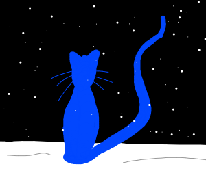 Bright blue cat silhouette on a snowy night