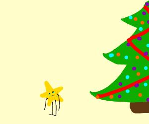 Sad star next to christmas tree