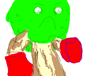A tree with boxing gloves on