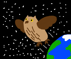 Owl escaping a planet