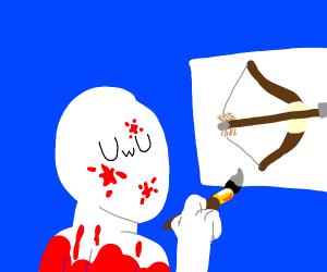VuV paints bow and arrow on canvas