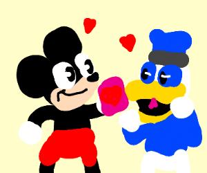 Mickey and Donald exchange Valentines.