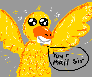 cute bird delivers the mail