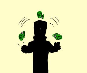 a person in full black jugling grenades