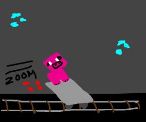Minecraft pig rides the mine train.