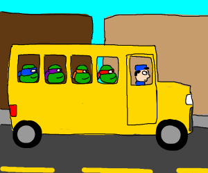 Ninja turtles in a school bus