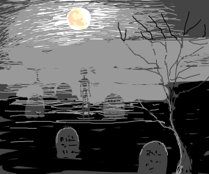 graveyard at midnight