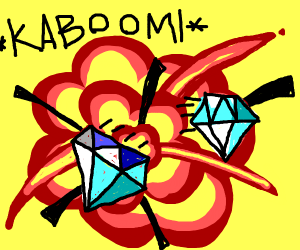 Diamonds in front of an explosion