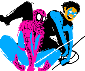 Spider-man and Nightwing swinging around