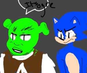 Shrek and Sonic go thru a violent break up