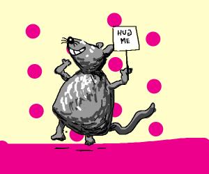 Joyful mouse likes cuddles