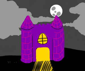 Spooky purple haunted castle at night