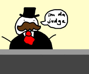 fat judge with moustache