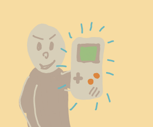 Man with a gameboy