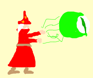 magician summons large green floating eye